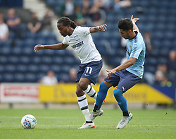 Daniel Johnson of Preston North End (L) and Ayoze Perez of Newcastle United in action - Mandatory by-line: Jack Phillips/JMP - 22/07/2017 - FOOTBALL - Deepdale - Preston, England - Preston North End v Newcastle United - Pre-Season Club Friendly