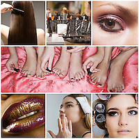 Collage of women applying make-up