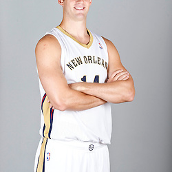 Sep 30, 2013; Metairie, LA, USA; New Orleans Pelicans power forward Jason Smith (14) poses for a portrait at Pelicans Practice Facility. Mandatory Credit: Derick E. Hingle-USA TODAY Sports