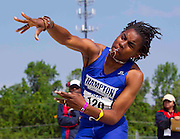 Hampton University Lady Pirate sophomore Shaquanda Gainey completes her javelin throw in the Women's Heptathlon at the 2011 MEAC Track and Field Championship held at North Carolina A&T in Greensboro, North Carolina.  Gainey finished fourth in the Heptathalon with 4191 points.  (Photo by Mark W. Sutton)