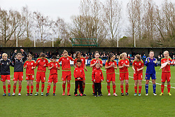 NEWPORT, WALES - Friday, April 1, 2016: Wales players line-up before the game against Republic of Ireland during Day 1 of the Bob Docherty International Tournament 2016 at Dragon Park. Lauren Harris, Sian Rees, Grace Horrell, Emily Jones, Anna Morphet, Amina Vine, Hannah Davies, Mesh Dudley-Jones, Morgan Rogers, Alice Griffiths, goalkeeper Charlie Short, captain Elise Hughes. (Pic by David Rawcliffe/Propaganda)