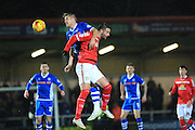 Ollie Lancashire, brad Inman during the Sky Bet League 1 match between Rochdale and Crewe Alexandra at Spotland, Rochdale, England on 16 February 2016. Photo by Daniel Youngs.