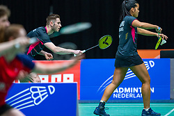 Ruben Jille and Alyssa Tirtosentono in action during the Dutch Championships Badminton on February 2, 2020 in Topsporthal Almere, Netherlands