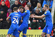 Goal - Ben Close (33) of Portsmouth celebrates scoring a goal to give a 0-1 lead to the away team during the EFL Sky Bet League 1 match between Plymouth Argyle and Portsmouth at Home Park, Plymouth, England on 9 February 2019.