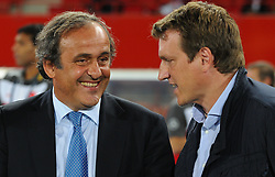 06.09.2011, Ernst Happel Stadion, Wien, AUT, UEFA EURO 2012, Qualifikation, Oesterreich (AUT) vs Tuerkei (TUR), im Bild UEFA Praesident Michel Platini mit Andreas Herzog // during the UEFA Euro 2012 Qualifier Game, Austria vs Turkey, at Ernst Happel Stadium, Vienna, 2011-09-06, EXPA Pictures © 2011, PhotoCredit: EXPA/ M. Gruber