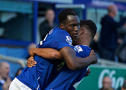 LIVERPOOL, ENGLAND - Sunday, October 4, 2015: Everton's Romelu Lukaku celebrating scoring the equalising against Liverpool during the Premier League match at Goodison Park, the 225th Merseyside Derby. (Pic by Lexie Lin/Propaganda)