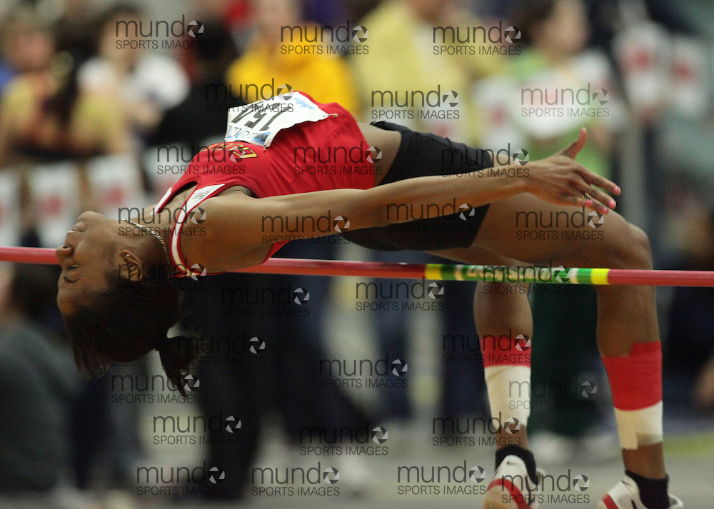 (Windsor, Ontario---13 March 2010) Shaneista Haye of University of Guelph Gryphons  competes in the women's high jump at the 2010 Canadian Interuniversity Sport Track and Field Championships at the St. Denis Center. Photograph copyright GEOFF ROBINS/Mundo Sport Images. www.mundosportimages.com