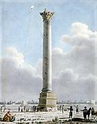Pompey's Column, Alexandria 1798'. French soldiers viewing column. Men flying kite.  Vivant Denon (1747-1825). Watercolour.