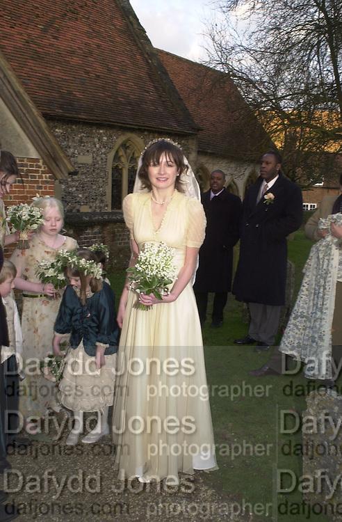 Emily Mortimer, Marriage of Emily Mortimer, ( daughter of John Mortimer ) to Alessandro Nivola, Turville.© Copyright Photograph by Dafydd Jones 66 Stockwell Park Rd. London SW9 0DA Tel 020 7733 0108 www.dafjones.com