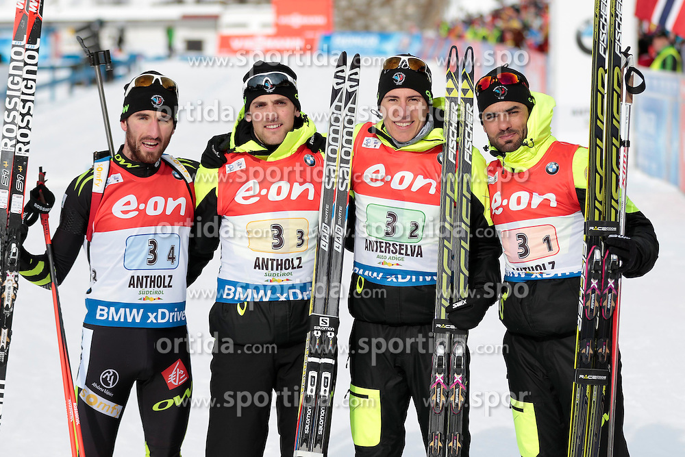 25.01.2015, Suedtirol Arena, Antholz, ITA, IBU Weltcup Biathlon, Antholz, Staffel Herren, im Bild Jean Guillaume Beatrix (FRA), Simon Desthieux (FRA), Maillet Quentin Fillon (FRA), Simon Fourcade (FRA) // during the mens Relay of IBU Biathlon World Cup at the Suedtirol Arena in Antholz, Italy on 2015/01/25. EXPA Pictures © 2015, PhotoCredit: EXPA/ Federico Modica