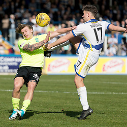 Jason Cummings (Hibernian) and Mark Russell (Morton FC)   during the Ladbrokes Championship match between Greenock Morton &amp; Hibernian at Cappielow Stadium on 8 April 2017<br /> <br /> Picture: Alan Rennie