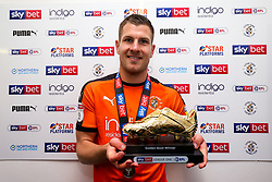 James Collins of Luton Town wins the 2018/19 Sky Bet League One Golden Boot award as Luton Town celebrate winning the league and securing automatic promotion from Sky Bet League 1 to the Sky Bet Championship - Rogan/JMP - 04/05/2019 - Kenilworth Road - Luton, England - Luton Town v Oxford United - Sky Bet League One.