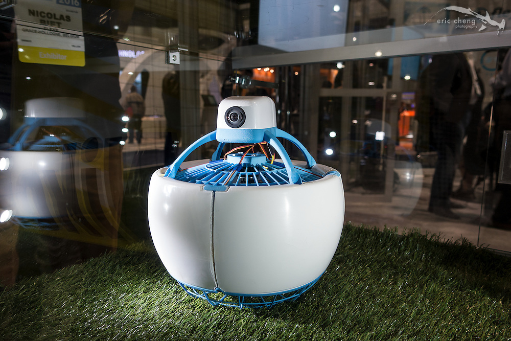 The Fleye personal flying robot. CES 2016, Las Vegas.