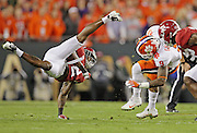 Clemson Tigers running back Wayne Gallman (9) is stopped by Alabama Crimson Tide defensive back Tony Brown (2) on a fourth down play in the first half of the National Championship game at Raymond James Stadium in Tampa, Monday, January 9, 2017.