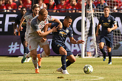 July 28, 2018 - Ann Arbor, MI, U.S. - ANN ARBOR, MI - JULY 28: Liverpool Defender Ragnar Klavan (17) and Manchester United Forward Alexis Sanchez (7) battle for the ball in the first half of the ICC soccer match between Manchester United FC and Liverpool FC on July 28, 2018 at Michigan Stadium in Ann Arbor, MI (Photo by Allan Dranberg/Icon Sportswire) (Credit Image: © Allan Dranberg/Icon SMI via ZUMA Press)