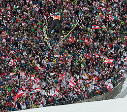 04.01.2015, Bergisel Schanze, Innsbruck, AUT, FIS Ski Sprung Weltcup, 63. Vierschanzentournee, Innsbruck, Finale, im Bild Michael Hayboeck (AUT) // Michael Hayboeck of Austria soars trought the air during his first competition jump for the 63rd Four Hills Tournament of FIS Ski Jumping World Cup at the Bergisel Schanze in Innsbruck, Austria on 2015/01/04. EXPA Pictures © 2015, PhotoCredit: EXPA/ JFK