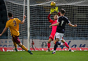 Dundee goalkeeper Scott Bain savees from Motherwell's Adam Livingstone - Dundee under 20s v Motherwell in the SPFL development league at Dens Park, Dundee<br /> <br /> <br />  - &copy; David Young - www.davidyoungphoto.co.uk - email: davidyoungphoto@gmail.com