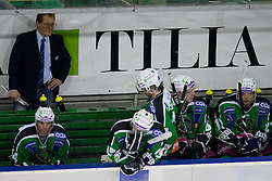 Head Coach Hannu Jarvenpaa on bench with his team during ice-hockey match between HDD Tilia Olimpija and Moser Medical Graz99ers in 10th Round of EBEL league, on October 10, 2010 at Hala Tivoli, Ljubljana, Slovenia. (Photo By Matic Klansek Velej / Sportida.com)