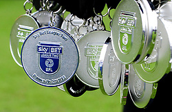 Sky Bet League Two medals, shortly before they were presented to the Luton Town players  - Mandatory by-line: James Healey/JMP - 28/04/2018 - FOOTBALL - Kenilworth Road - Luton, England - Luton Town v Forest Green Rovers - Sky Bet League Two