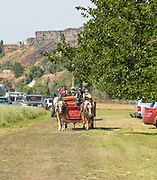 People enjoying a free Wagon ride tour during the Thousand Springs Art Festival at Ritter Island near Hagerman, Idaho.