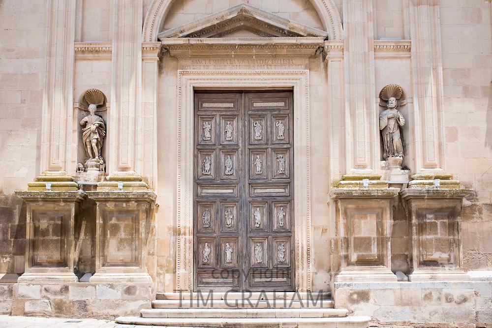 Front elevation and steps of Baroque 16th Century Duomo Cathedral of Santa Maria la Nova in Chiaramonte Gulfi, Sicily