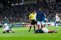 Marc Oliver Kempf of Germany and Julian Brandt of Germany lying on the ground after crash and penalty for team France during the UEFA European Under-17 Championship Group A match between Germany and France on May 10, 2012 in SRC Stozice, Ljubljana, Slovenia. Germany defeated France 3:0. (Photo by Matic Klansek Velej / Sportida.com)