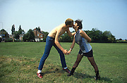 Kelly and Gavin Kissing, High Wycombe, UK, 1980s.