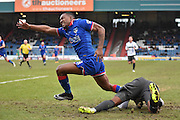 Oldham Athletic Forward, Dominic Poleon is tackled hard by Bury Midfielder, Tom Soares during the Sky Bet League 1 match between Oldham Athletic and Bury at Boundary Park, Oldham, England on 23 January 2016. Photo by Mark Pollitt.