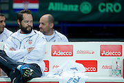 Zeljko Krajan - captain national team on the bench during the BNP Paribas Davis Cup 2014 between Poland and Croatia at Torwar Hall in Warsaw on April 6, 2014.<br /> <br /> Poland, Warsaw, April 6, 2014<br /> <br /> Picture also available in RAW (NEF) or TIFF format on special request.<br /> <br /> For editorial use only. Any commercial or promotional use requires permission.<br /> <br /> Mandatory credit:<br /> Photo by &copy; Adam Nurkiewicz / Mediasport