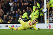 Derby County goalkeeper Scott Carson (1) dives for the ball during the EFL Sky Bet Championship match between Derby County and Sheffield Wednesday at the iPro Stadium, Derby, England on 29 October 2016. Photo by Jon Hobley.