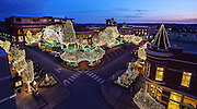 Fayetteville Arkansas Square with Christmas Holiday lights at sunset Stock Photography of Northwest Arkansas by Wesley Hitt.