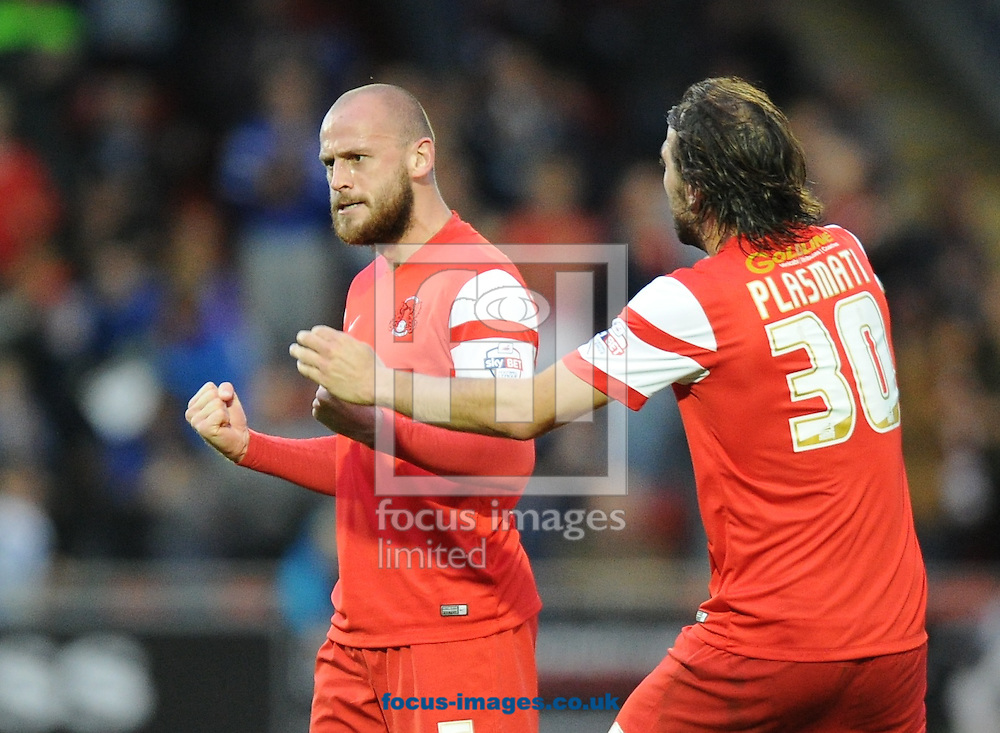 Scott Cuthbert of Leyton Orient  celebrates scoring the equaliser with Gianvito Plasmati (30) to make it 1-1 during the Sky Bet League 1 match at the Matchroom Stadium, London<br /> Picture by Alan Stanford/Focus Images Ltd +44 7915 056117<br /> 01/11/2014