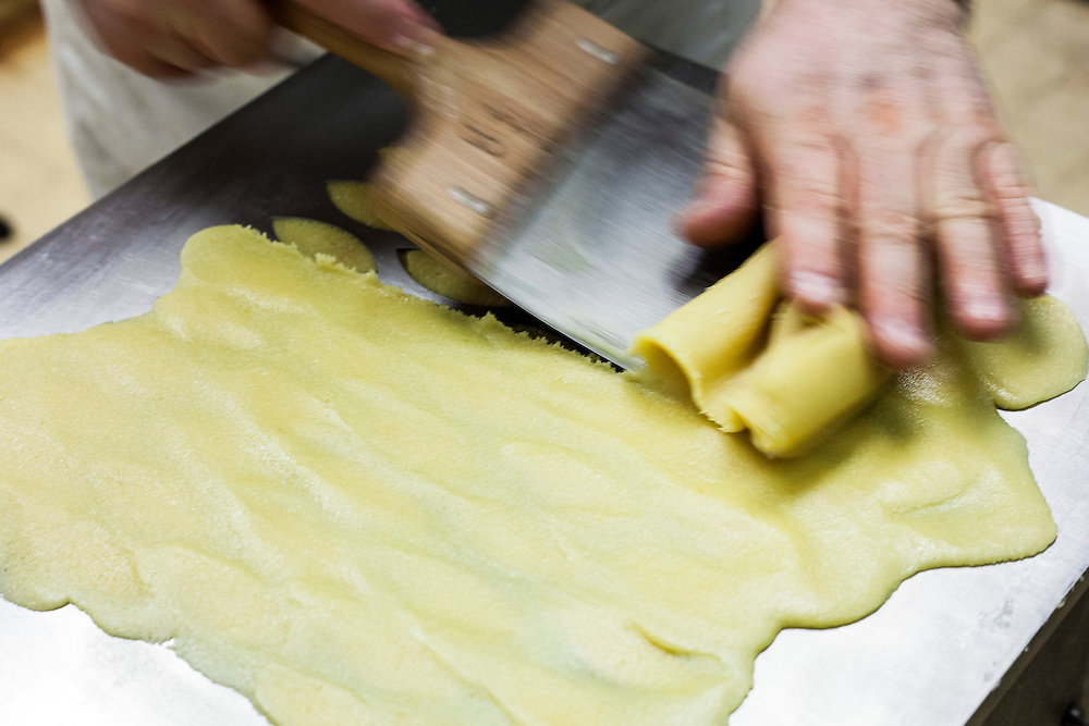 Making calisson coockies in Maison Béchard, famous pastry in Aix-en-Provence, France.
