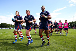 Olly Robinson, Jack O'Connell and Tom Varndell of Bristol Rugby - Rogan/JMP - 05/08/2017 - RUGBY UNION - Cleve RFC - Bristol, England - Bristol Rugby v Harlequins - Pre-Season Friendly.