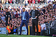 Fulham First Team Head Coach Slavisa Jokanovic and Reading first team manager Jaap Stam look on as the game closes in during the EFL Sky Bet Championship play off first leg match between Fulham and Reading at Craven Cottage, London, England on 13 May 2017. Photo by Jon Bromley.