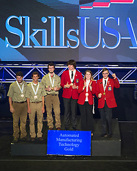 The 2017 SkillsUSA National Leadership and Skills Conference Competition Medalists were announced Friday, June 23, 2017 at Freedom Hall in Louisville. <br /> <br /> Automated Manufacturing Technology<br /> <br /> Team I (consisting of Salvador Alcala, William Kipp, Madison Gigliotti)<br />   High School McCann Technical High School<br />   Gold North Adams, MA<br /> Automated Manufacturing TechnologyTeam B (consisting of Logan Bruneau, Tobias Schmidt, Jake Stein)<br />   High School S & W Washtenaw Consortium<br />   Silver Saline, MI<br /> Automated Manufacturing TechnologyTeam H (consisting of Sudarshan Kadalazhi, Tomas Ponce, Dylan Hulstedt)<br />   High School Paradise Valley High School<br />   Bronze Phoenix, AZ<br /> Automated Manufacturing TechnologyTeam J (consisting of Peter Prombo-Cates, Matthew Roderick, Patrick McDermott)<br />   College Ranken Tech College<br />   Gold Saint Louis, MO<br /> Automated Manufacturing TechnologyTeam O (consisting of Quacy Wilson, Jason Hall, Tucker Hildreth)<br />   College Gillette College<br />   Silver Gillette, WY<br /> Automated Manufacturing TechnologyTeam D (consisting of Trevor Purdy, Elijah Buist, Andrew Ketchum)<br />   College Ferris State University<br />   Bronze Big Rapids, MI