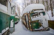 Trolley Graveyard<br /><br />Located out in the wilderness of Pennsylvania lies a set of street cars, most of which are from Boston and Philadelphia. Often mistaken as being abandoned, the graveyard is actually a scrapyard and an active business.<br /><br />They are owned by a man named Ed Metka who purchased many of them in the 1980s, when rail services were auctioning off their out of service PCC fleet. He had them transported on flatbeds from Boston to his railcar repair shop in a small coal mining town in the mountains of Pennsylvania.<br /><br />The name PCC comes from the name of a design committee formed in 1929 as the Presidents' Conference Committee. The PCC streetcar design was first built in the United States in the 1930s. The design proved successful here, and after World War II it was licensed for use elsewhere in the world. They were manufactured by St. Louis Car Company and Pullman Standard, many of which are still in service all around the world.<br /><br />Metka had initially planned to repair them and sell them , but hasn't found an interested buyer for them yet. Over the past couple of years, the cars have been vandalized and scrap metal thieves have stolen parts of the cars. Until a buyer is found, they will continue to deteriorate.<br />©Abandoned Florida/Exclusivepix Media
