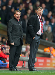 07.04.2013, Anfield, Liverpool, ENG, Premier League, FC Liverpool vs West Ham United, 32. Runde, im Bild Liverpool's manager Brendan Rodgers and West Ham United's manager Sam Allardyce during during the English Premier League 32th round match between Liverpool FC and West Ham United FC at Anfield, Liverpool, Great Britain on 2013/04/07. EXPA Pictures © 2013, PhotoCredit: EXPA/ Propagandaphoto/ David Rawcliffe..***** ATTENTION - OUT OF ENG, GBR, UK *****