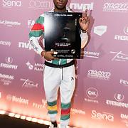NLD/Amsterdam/20180213 - Edison Pop Awards 2018, Sevn Alias met zijn dubbel platina plaat