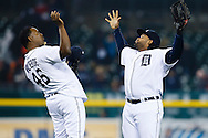 April 28, 2013; Detroit, MI, USA; Detroit Tigers relief pitcher Jose Valverde (46) and first baseman Prince Fielder (28) celebrate after the game against the Atlanta Braves at Comerica Park. Detroit won 8-3. Mandatory Credit: Rick Osentoski-USA TODAY Sports