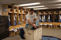 08 March 2008: North Carolina Tar Heels men's lacrosse goalkeeper Chris Madalon (11) pregame before playing the Notre Dame Fighting Irish in Chapel Hill, NC.