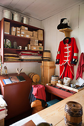 Supplies and uniform inside the Great Hall, Grand Portage National Monument, Grand Portage, Minnesota, United States of America