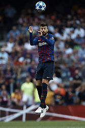 September 18, 2018 - Barcelona, Barcelona, Spain - Gerard Pique of FC Barcelona heads the ball during the UEFA Champions League group B match between FC Barcelona and PSV Eindhoven at Camp Nou on September 18, 2018 in Barcelona, Spain  (Credit Image: © David Aliaga/NurPhoto/ZUMA Press)