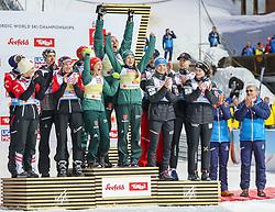 02.03.2019, Seefeld, AUT, FIS Weltmeisterschaften Ski Nordisch, Seefeld 2019, Skisprung, Mixed Team Bewerb, Flower Zeremonie, im Bild 2. Platz Team Österreich, 1. Patz Team Deutschland, 3. Platz Team Norwegen // second placed Team Austria winner Team Germany third placed Team Norway during the flowers ceremony for the mixed team competition of nordic combination of FIS Nordic Ski World Championships 2019. Seefeld, Austria on 2019/03/02. EXPA Pictures © 2019, PhotoCredit: EXPA/ JFK