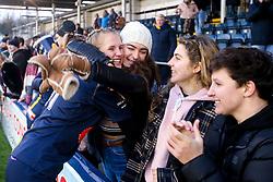 Vicky Laflin of Worcester Warriors Women celebrates victory over Bristol Bears Women - Mandatory by-line: Robbie Stephenson/JMP - 01/12/2019 - RUGBY - Sixways Stadium - Worcester, England - Worcester Warriors Women v Bristol Bears Women - Tyrrells Premier 15s