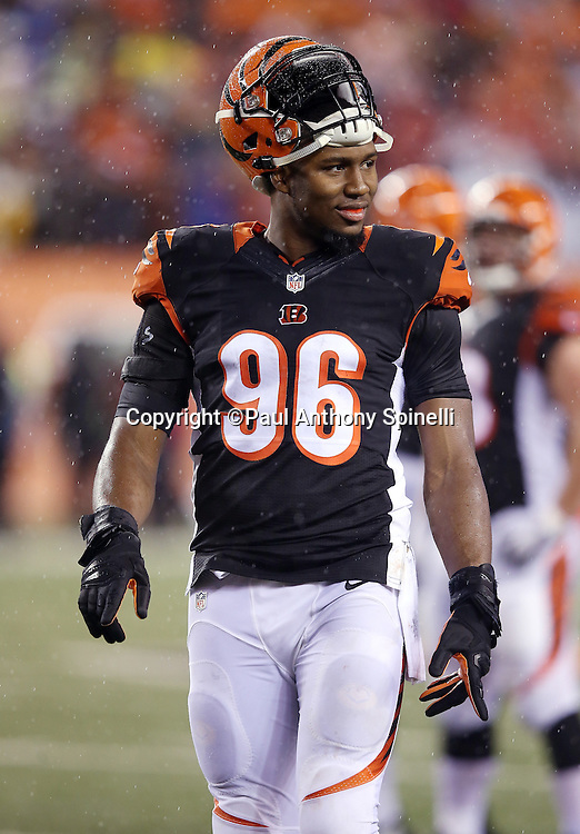 Cincinnati Bengals defensive end Carlos Dunlap (96) smiles during the NFL AFC Wild Card playoff football game against the Pittsburgh Steelers on Saturday, Jan. 9, 2016 in Cincinnati. The Steelers won the game 18-16. (©Paul Anthony Spinelli)