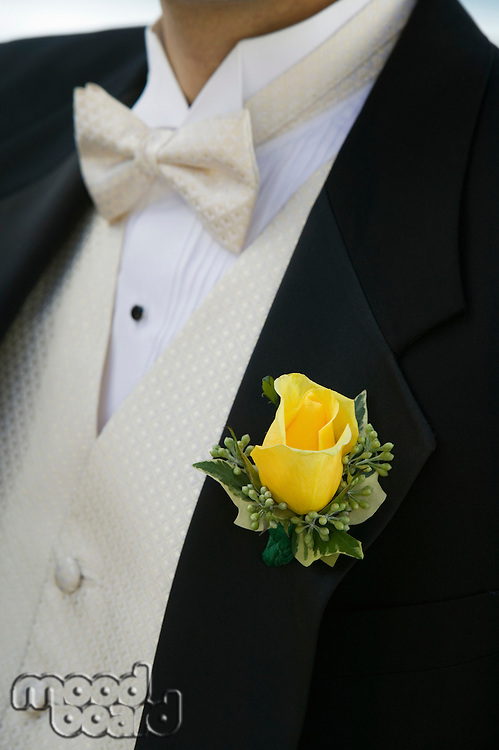Close-up of Yellow Rose on Groom's Tuxedo
