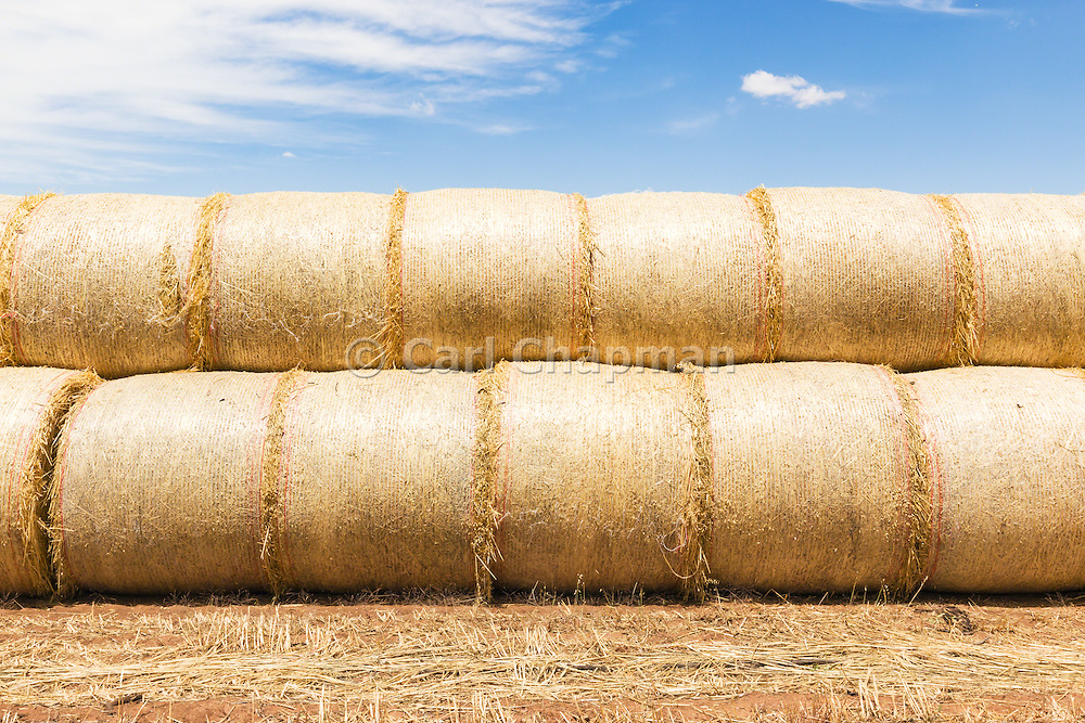 Stack of round hay bales on a farm after harvest  in rural Kinypanial, Victoria, Australia <br />