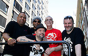 """Joey Llanos, Joe Claussell, Louie Vega, David DePino and François K pose after the Paradise Garage Party """"Larry Levan Day"""" event on King Street in New York City, New York on May 11, 2014."""