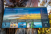 Interpretive sign, Santa Cruz Island, Channel Islands National Park, California USA